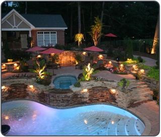 Swimming Pool, Outdoor Lighting in Cypress, TX